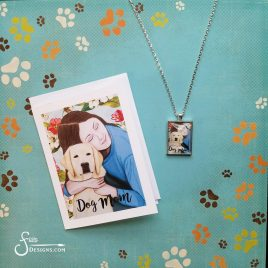 Dog Mom Pendant Necklace + Free Greeting Card